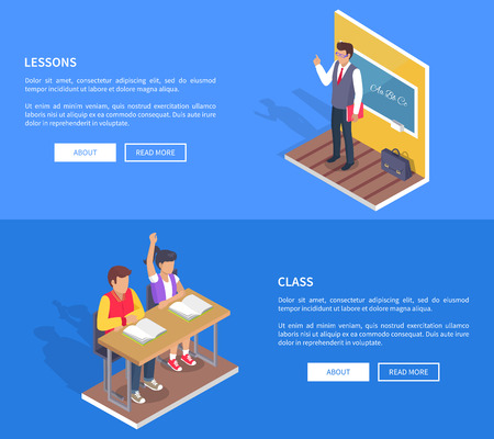 Class lessons with students boy and girl sitting at desk with open textbooks and teacher standing near blackboard at grammar lesson vector web posters