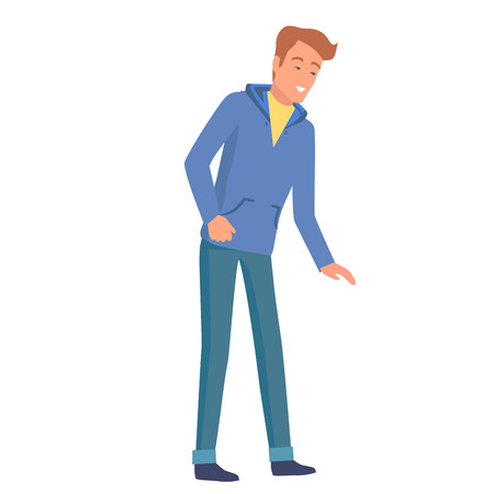 Man in blue hoodie and jeans smiles and leans forward isolated on white background. Cartoon character vector illustration.