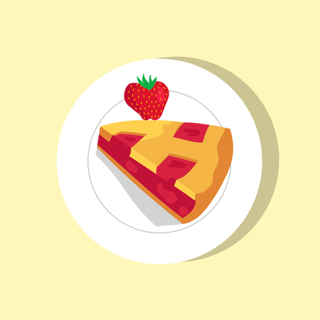 Sweet pie with cute strawberry vector illustration, bakery food, fresh berry, pie piece, white round plate, fruitty filling, tasty pastry, tea snack