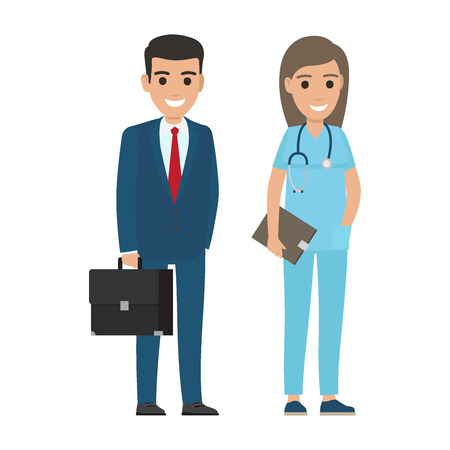 People professions vector characters. Businessman with briefcase and woman doctor with stethoscope cartoon characters isolated on white. Occupations flat illustration for labor day, job concepts