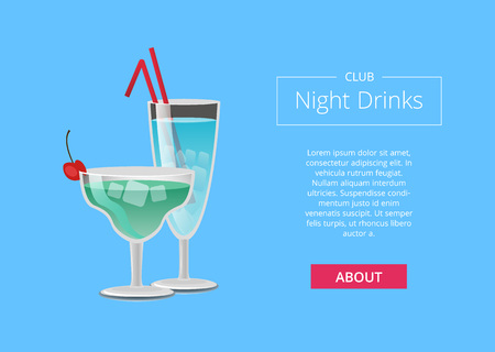 Club night drinks web poster with blue cocktails in martini glass, with straw decorated by cherry on top vector illustration and place for text