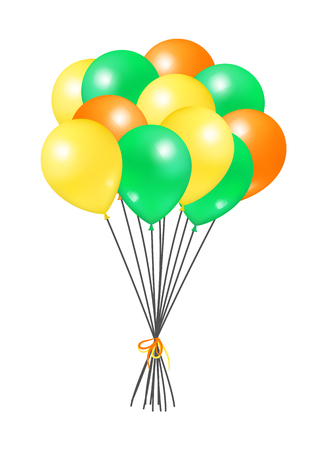 Yellow orange and green bunch of helium colorful air balloons isolated on white background. Blown rubber inflatable ball, multicolor creative elements