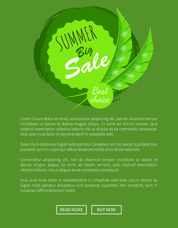 Summer big sale round emblem with palm leaves. Total price reduction logotype floral decor. Seasonal cost off sticker isolated vector online page Illustration