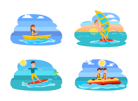 Boating collection summer, windsurfing and surfing boy, banana boat set of summer sport, shealthy lifestyle, isolated on vector illustration