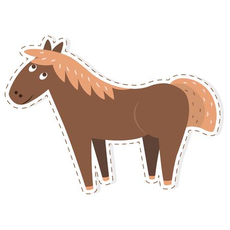 Autocollant de dessin animé plat mignon cheval brun drôle vecteur ou icône décrite avec une ligne pointillée isolée sur blanc Illustration d'animal domestique ou d'animal de compagnie pour les compteurs de jeu Vecteurs