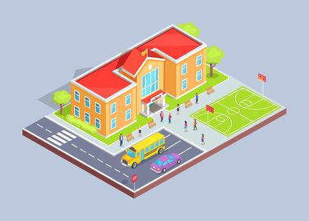 Schoolgebied geïsoleerde 3D-vector illustratie op een grijze achtergrond. Tienerstudenten in cartoonstijl, gebouw met twee verdiepingen, sportveld en parkeerplaats
