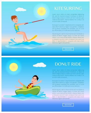 Donut ride and kitesurfing, sports poster, joyful man on board and rubber tablet, blue marine water, text sample, colorful vector illustration Illustration