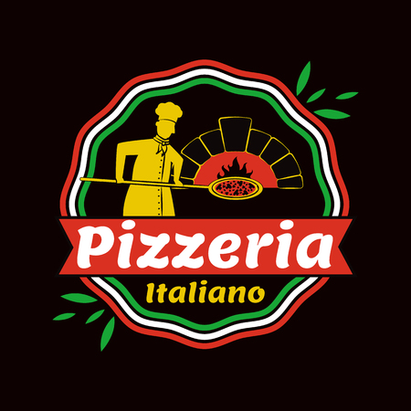 Pizzeria Italiano promo emblem with cook in uniform and old cooker. Nice place with tasty pizza commercial logotype isolated vector illustration Illustration