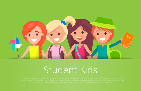 Student kids banner with text isolated vector illustration with inscription on green background. Joyful children during classes or on break Ilustrace
