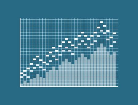 Diagram template, squared display, blue backdrop, vector illustration, rectangular pillars, infographic on grid, two limitation lines, statistic data Иллюстрация