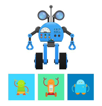 Technology and droids collection, robot and radar, buttons and wheels, screen with information, set of mechanisms isolated on vector illustration