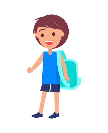 Schoolboy with backpack in shorts and blue t-shirt vector illustration isolated on white. Smiling youngster, cute child full length