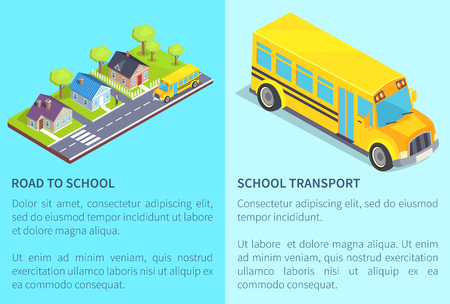 Set of road and school transport posters with inscription. Isolated vector illustration of residential area and yellow bus on light blue background Stockfoto