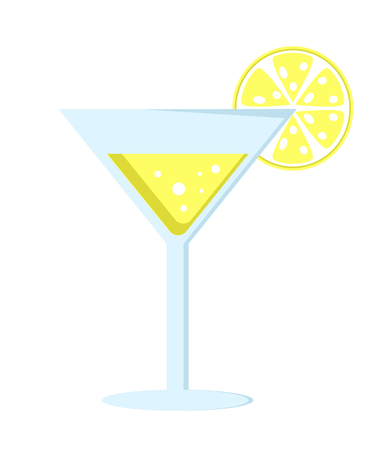 Yellow cocktail in glass on long leg decorated with lemon slice vector illustration isolated on white background. Refreshing summer alcoholic drink