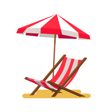 Lounge and umbrella icons vector illustration isolated on white background striped summer equipment, comfortable sitting place chaise in shadow
