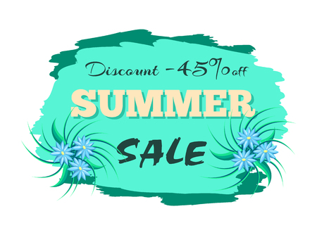 Discount 45 off summer sale advertisement label with gentle blue flowers, promo sticker design, deal tag emblem with info about promotion vector isolated