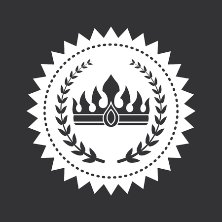 Heraldic symbols on black and white stamp. Crown on monochrome emblem isolated vector illustration. King hat and laurel branches on black round sign Stock Photo