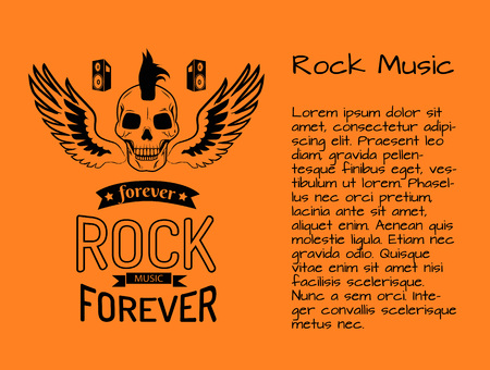 Rock music forever colorful poster with skull surrounded by wings. Vector illustration of rock and roll symbol on orange background