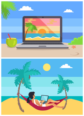 Screen and freelancer set, distant work and freelance, laptop and cocktails at seaside, woman in hammock, collection isolated on vector illustration