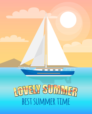 Lovely summer poster with inscription. Vector illustration of floating boat with white sails, mountain line far behind and light pink sky Stock Photo
