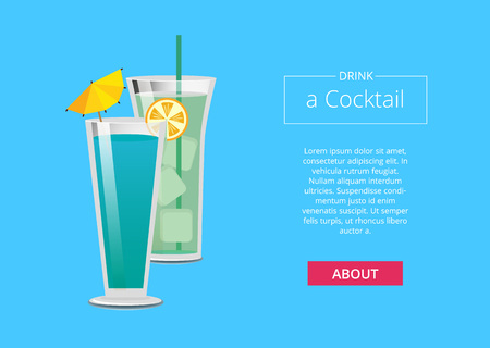 Drink a cocktail web poster with mojito and mint summer party promo banner, beverage made of vodka and liqueur with umbrella and orange vector