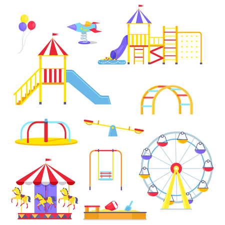 Funny slides, colorful merry-go-round, metal swings, big ferris wheel, square sandbox and bright balloons vector illustrations set.