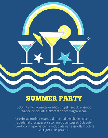 Summer party poster with martini glasses and umbrella, orange slices and wavy lines vector illustration with rainbow isolated on blue background