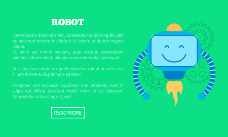 Mechanic robot with powerful turbine with flame. Promotional banner with droid that has friendly face cartoon vector illustration and sample text Banco de Imagens
