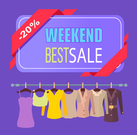 Weekend best sale clothes promo poster with tops jackets and dresses on rack. Discount 20 off for female spring outfits banner vector illustration Stok Fotoğraf - 104929426