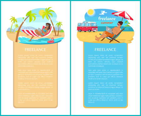 Freelance and distant work advertisements set. People work on laptops right on sandy beach. Man in recliner and woman in hammock vector illustrations.