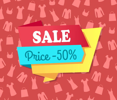 Sale Price Discount on Pattern with Modern Apparel Illustration