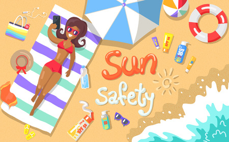Sun safety poster with inscription depicting seaside. Vector illustration of woman lying on beach with various object scattered around her