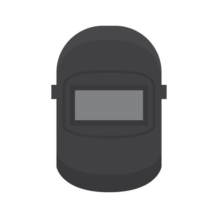 Welding helmet flat vector icon isolated on white background. Industrial equipment or professional tool. Protective mask for welding illustration Ilustração