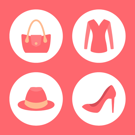 Stylish female clothes promotional emblems. Fashionable handbag, pink top, high heel shoe and cute hat. Womens clothing icons vector illustrations Illustration