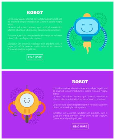 Ilustraciones de robots, dos coloridos carteles vectoriales, fondos de color lila y verde, grupo de engranajes, droide redondo naranja en una rueda, cyborg volador, botones