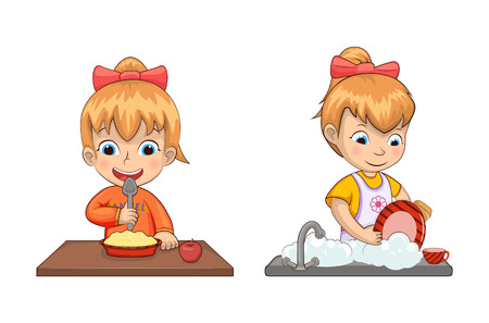 Girl chores and life set of activities and eating cereals and apple and washing dishes, collection vector illustration isolated on white background