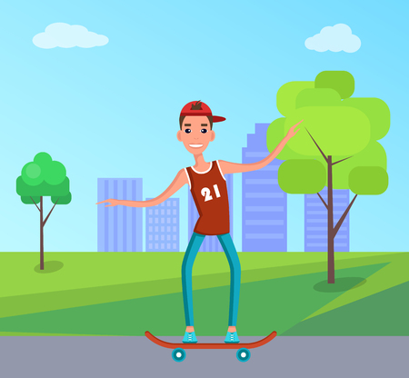 Teenager skateboarding vector illustration of young man on skate, skateboarder in t-shirt and jeans in green park on background of skyscraper buildings Illustration