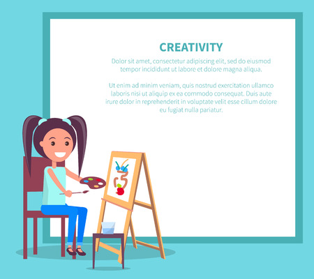 Creativity poster with girl drawing picture of vase using paint brushes on wooden easel vector illustration isolated on white background Иллюстрация