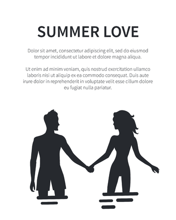 Summer Love Affair Banner with Couple Silhouettes  イラスト・ベクター素材