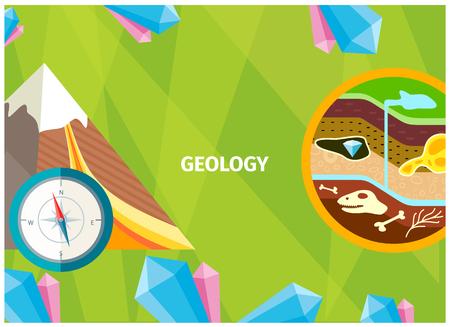 Banner della geologia come scienza della terra Vettoriali