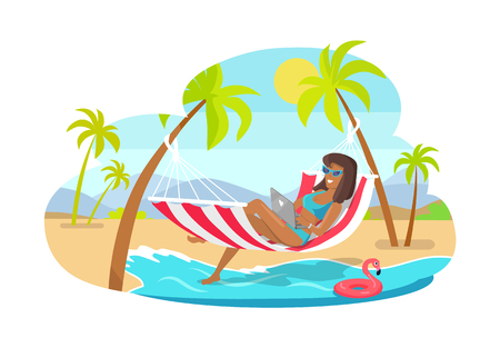 Suntanned girl-freelancer works on laptop in hammock. Woman at beach among palms. Freelance and amazing summer vector illustration.