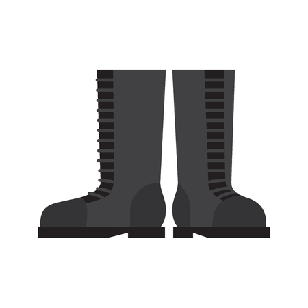 Pair of rubber boots flat vector isolated on white background. High black boots for cold seasons, rainy weather. Personal protective equipment illustration