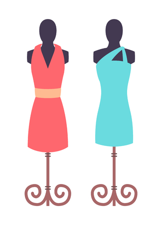 Dark mannequins with vogue female dresses image isolated on white background, blue and pink modern gowns vector illustration women clothing display Illustration