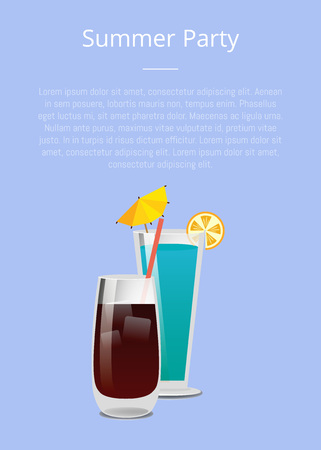 Summer party drinks promo poster with cocktail made of vodka and cola and blue lagoon with lemon vector illustration on blue background place for text