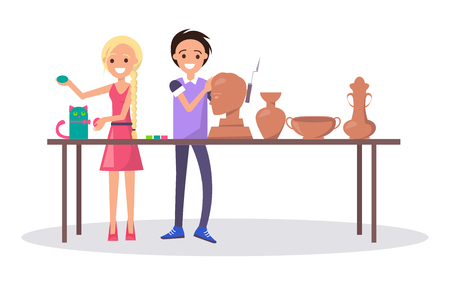 Cheerful teenagers in class at art school isolated vector illustration on white background. Boy sculpting head from clay and girl finishing her cat figure