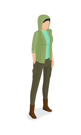 Woman in green jacket with hood, verdant trousers side view vector illustration. Student or college girl cartoon character isolated on white Illustration