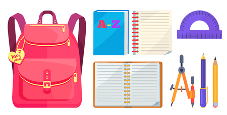 Rucksack for girl in pink colors with inscription on metal heart love school, big pocket and zipper, open exercise book, protractor and compass divider isolated on white background Stock Illustratie