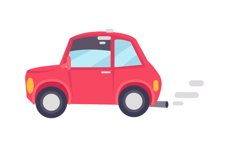 Red car makes lot of unhealthy smoke, color card, vehicle with grey disks, vector illustration with small two-door automobile isolated on white Standard-Bild - 105603806