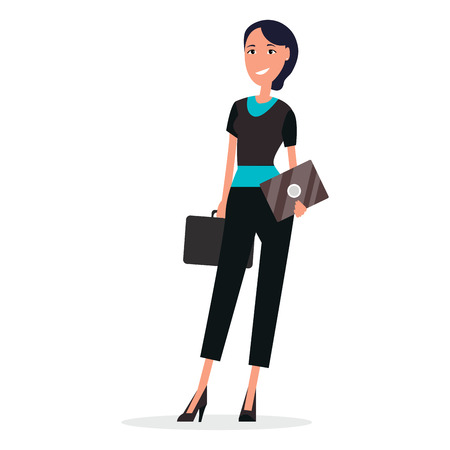 Businesswoman in blouse and black trousers with leather briefcase and envelope isolated on white background vector illustration.