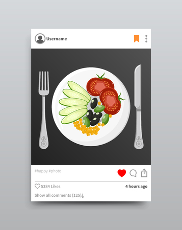 Photo and tomato cucumber and olive, corn on plate, post and fork knife, vector illustration isolated on grey background